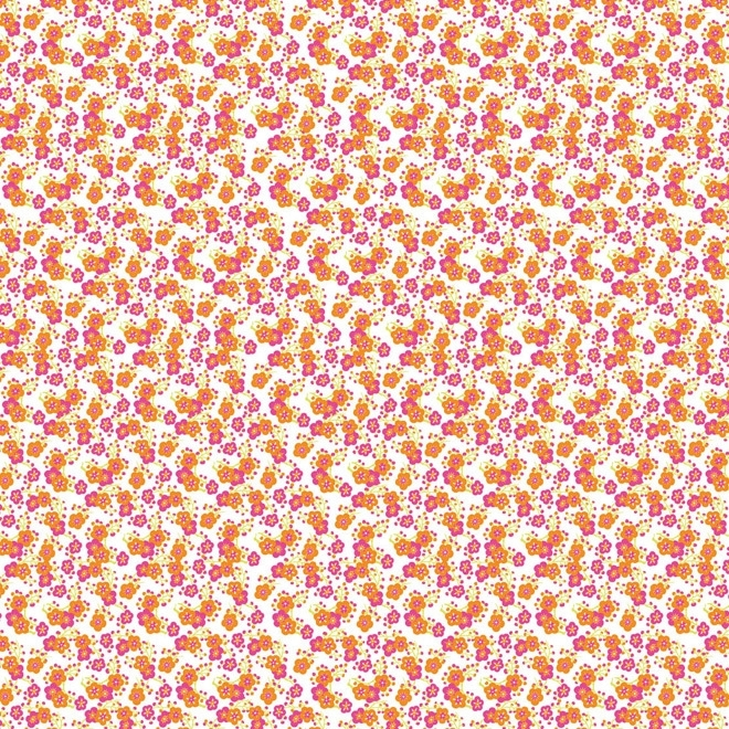 Artepatch papier: wit met fuchsia en oranje bloemetjes