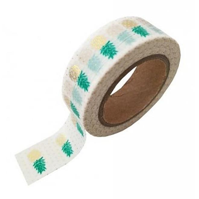Witte masking tape met met ananas groen