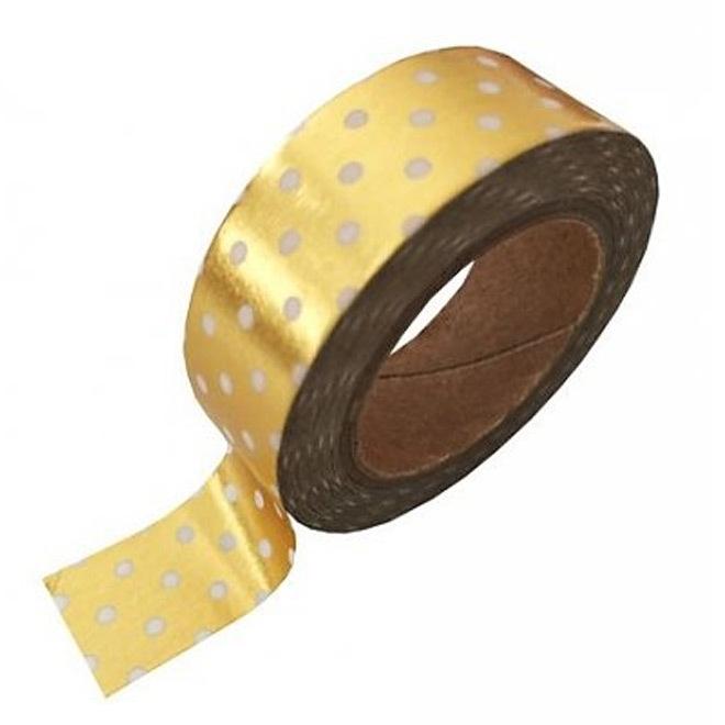 Gouden masking tape met witte stippen