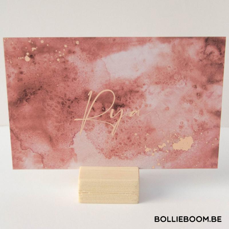 Goud rosé folie geboortekaartje RYA