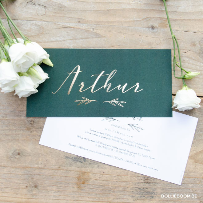 Goudfolie geboortekaartje ARTHUR