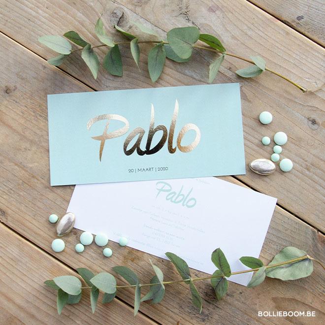 Goudfolie geboortekaartje PABLO