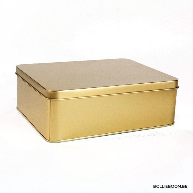 Gouden metalen doos