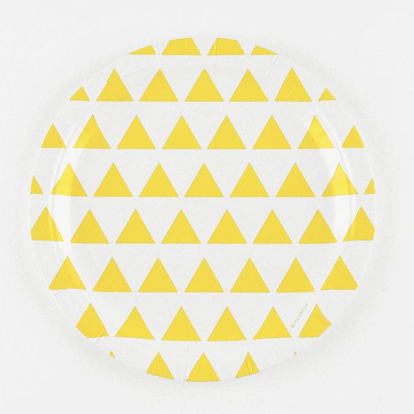 Kartonnen bordjes met gele driehoeken