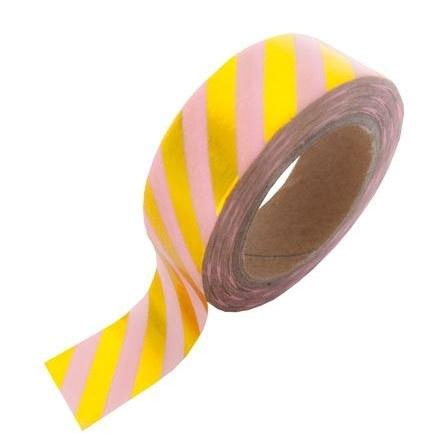 Roze masking tape met goud blinkende strepen