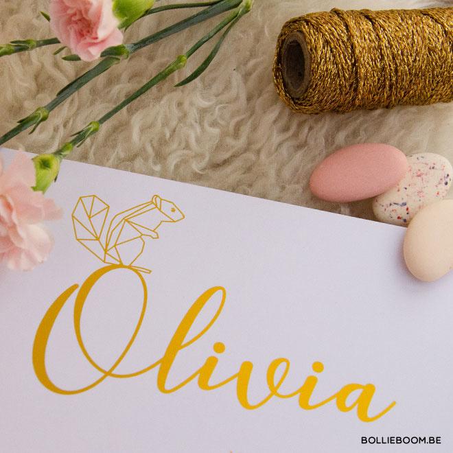 Goudfolie eekhoorn geboortekaartje OLIVIA