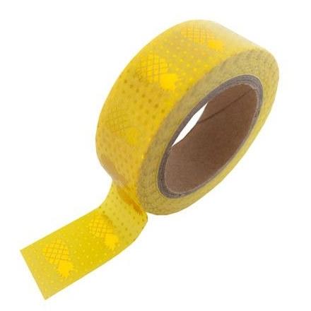 Gele masking tape met gouden ananassen