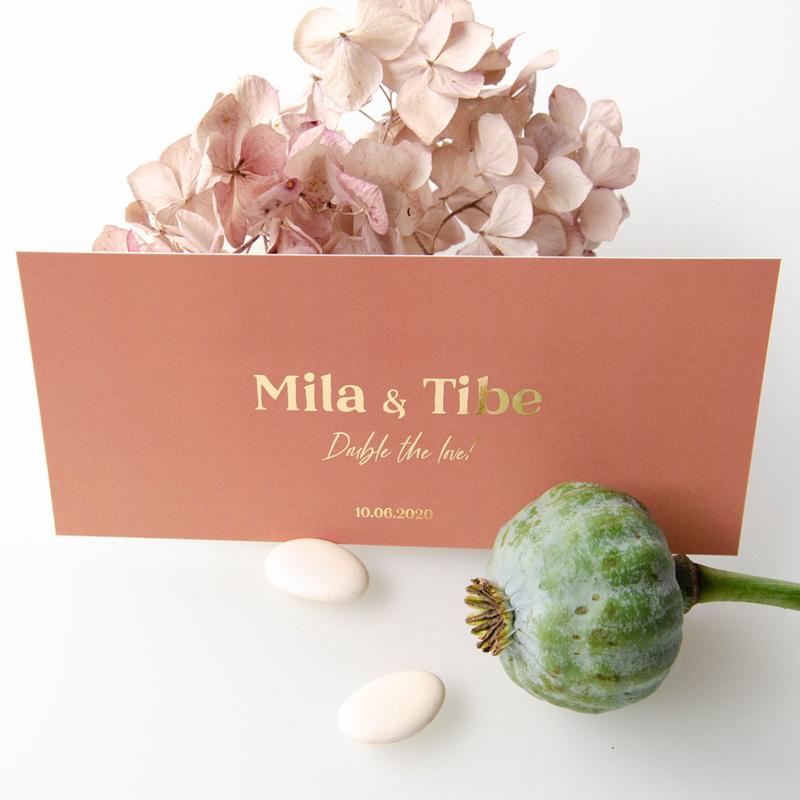 Goudfolie geboortekaartje Mila & Tibe
