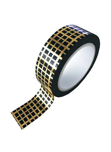 Gouden masking tape met vierkantjespatroon