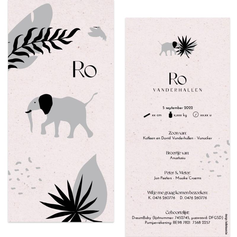 Olifant - eco papier |  geboortekaartje Ro