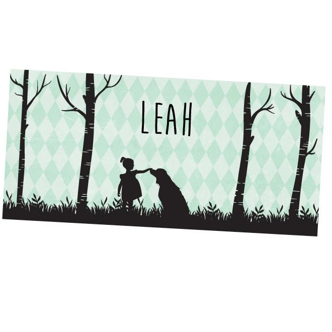 Silhouette meisje met hond geboortekaartje LEAH