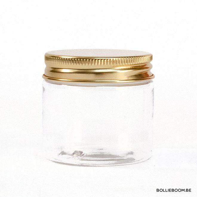 Transparant potje met gouden deksel