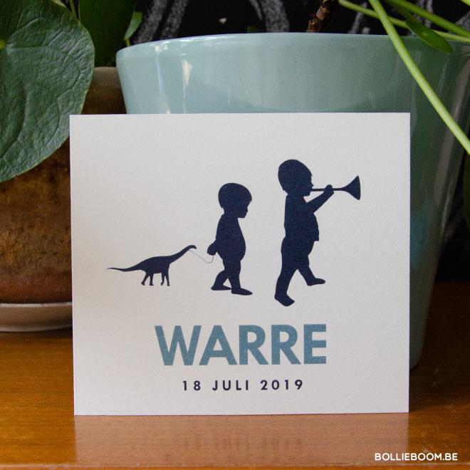 Silhouette kindjes geboortekaartje WARRE
