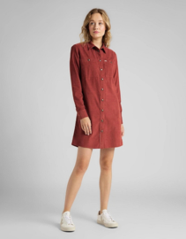 Lee - Workshirt Dress Corduroy Red Ochre