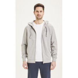 Knowledge Cotton Apparel - Elm Zip Hood Basic Sweat Grey Melange
