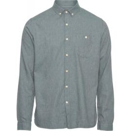 Knowledge Cotton Apparel - ELDER regular fit melange flannel shirt Green Forest