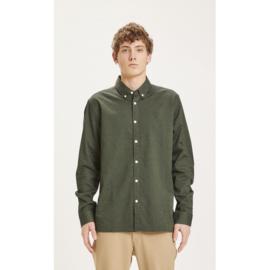 Knowledge Cotton Apparel - Elder Regular Fit Oxford Shirt Green Forest