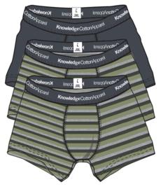 Knowledge Cotton Apparel - Maple 3 pack Block Striped Underwear Sage