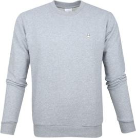 Knowledge Cotton Apparel - Logo Trui Grey Melange