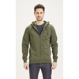 Knowledge Cotton Apparel - Elm Zip Hood Basic Sweat Forrest Night