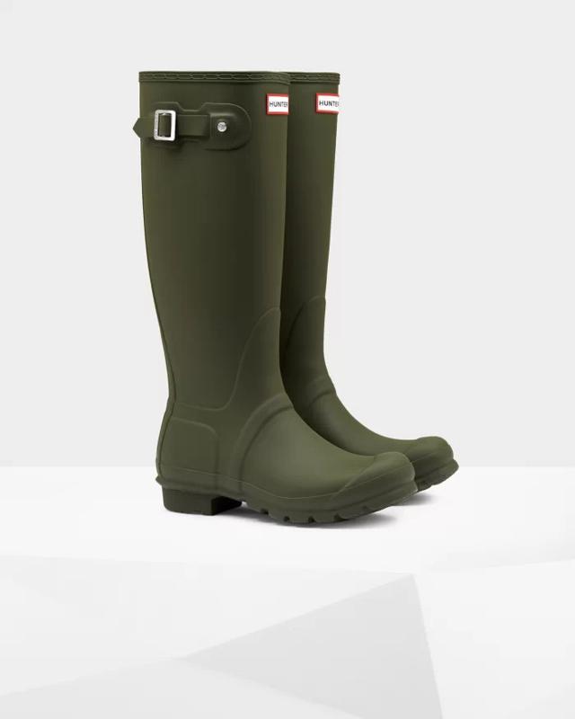 Hunter - Women's Original Tall Wellington Boots Dark Olive