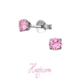 gerhodineerd zilveren oorbellen roze Zirkonia