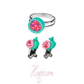SOUZA clipoorbellen slak roze huisje + ringetje