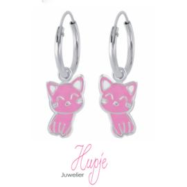 zilveren kinderoorbellen creolen kat roze