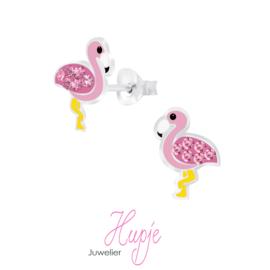 zilveren kinderoorbellen flamingo roze diva
