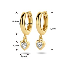 gouden creolen Ariane met Zirkonia hartje