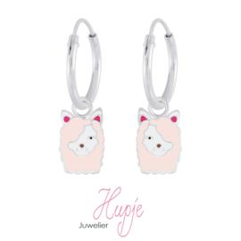 zilveren kinderoorbellen creolen alpaca roze