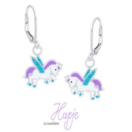 zilveren kinderoorbellen eenhoorn paars blauwe glitter vleugels brisure (premium)