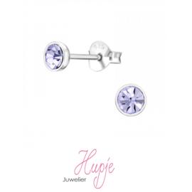 zilveren oorknopjes lila kristallen