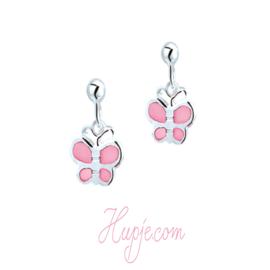 zilveren kinderoorbellen vlinder roze parelmoer