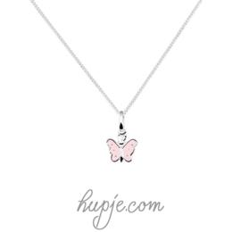 zilveren kinderketting vlinder roze zilveren stip