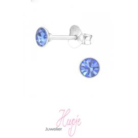 zilveren oorknopjes Air Blue Opal