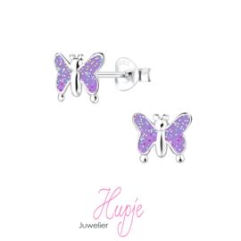 zilveren kinderoorbellen vlinder paars glitter