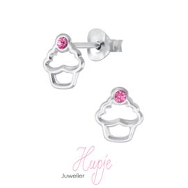 zilveren kinderoorknopjes cupcake roze kristal opengewerkt