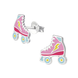 zilveren kinderoorbellen rollerskate roze