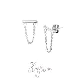 zilveren oorbellen staafje horizontaal en kettinkje