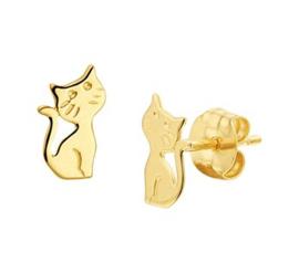 14 karaat gouden kinderoorbellen kat