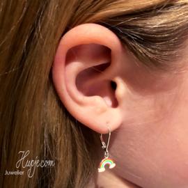 zilveren oorhangers regenboog glitterwolk met brisure sluiting
