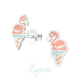 Silberne Ohrringe  Iced Flamingo
