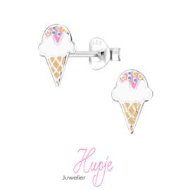 zilverenkinderoorbellen ijsje roze discodip