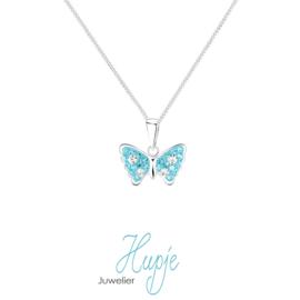 zilveren kinderketting vlinder Magic Blue Crystals