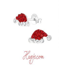 zilveren oorbellen kerstmuts kristallen