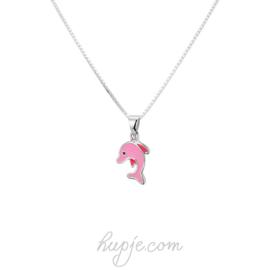 zilveren kinderketting roze dolfijn
