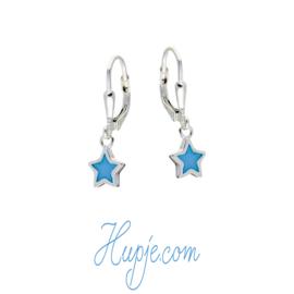 zilveren kinderoorbellen ster lichtblauw parelmoer