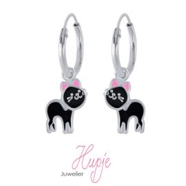 zilveren kinderoorbellen katjes zwart roze oortjes