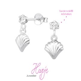 zilveren oorhangers schelp Swarovski®  kristallen